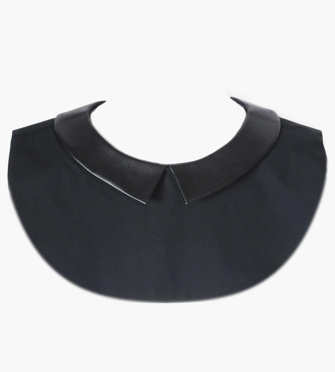 col amovible pointu cuir noir
