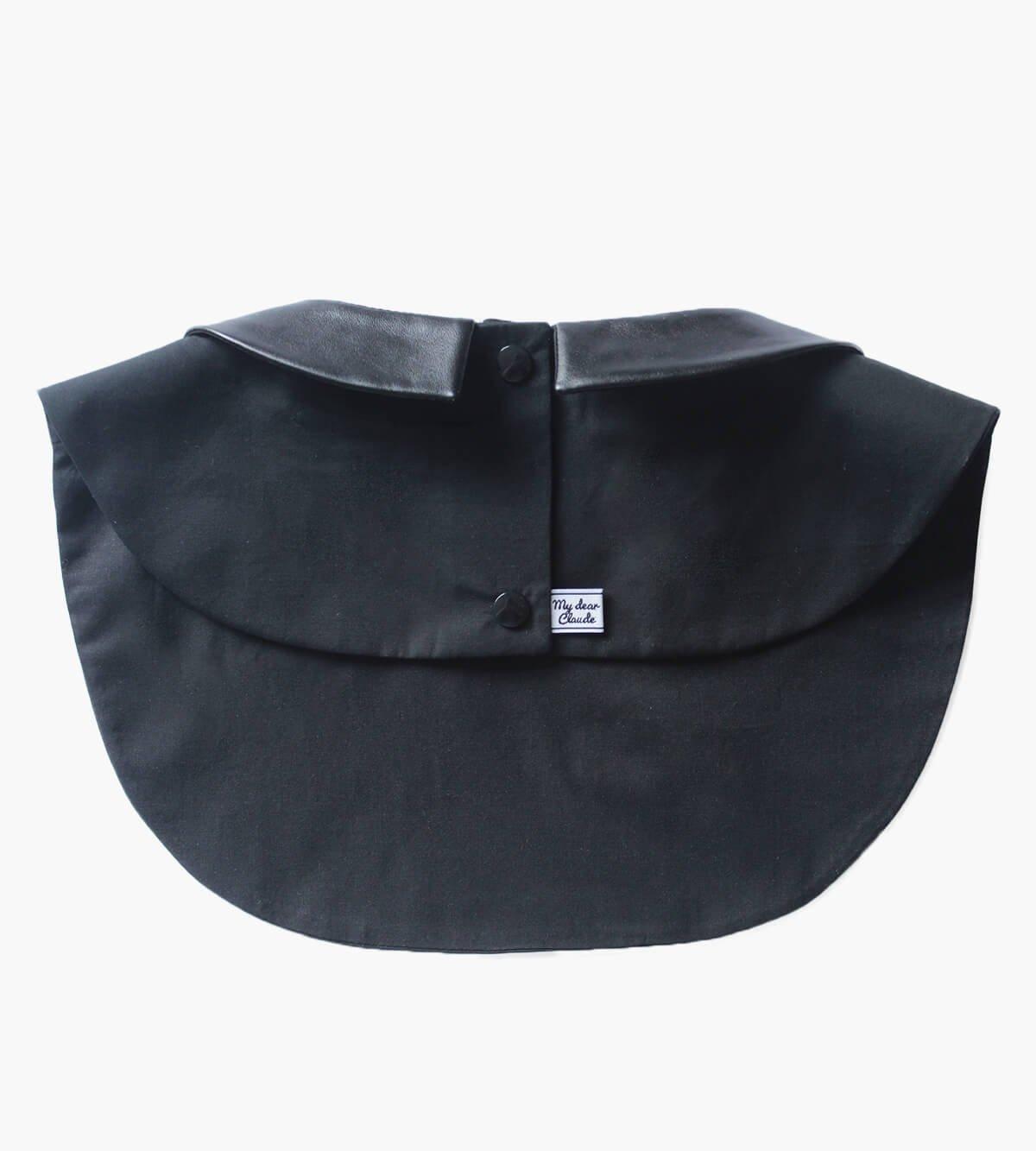 col amovible simili cuir noir