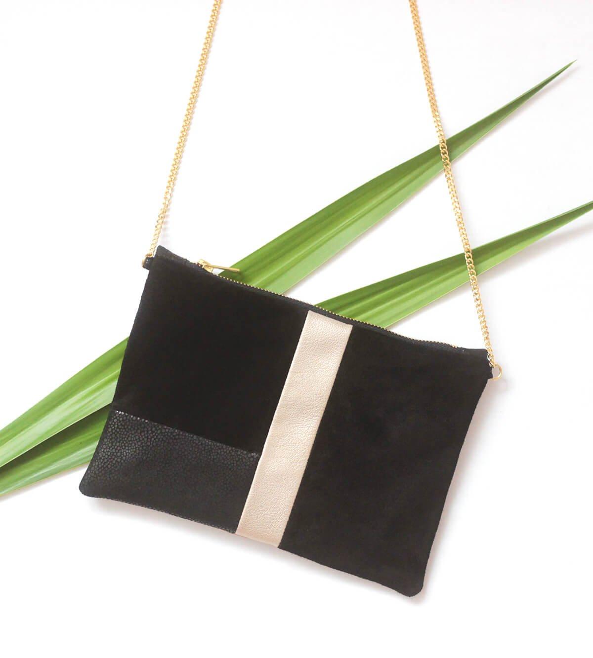 pochette cuir noir et doré