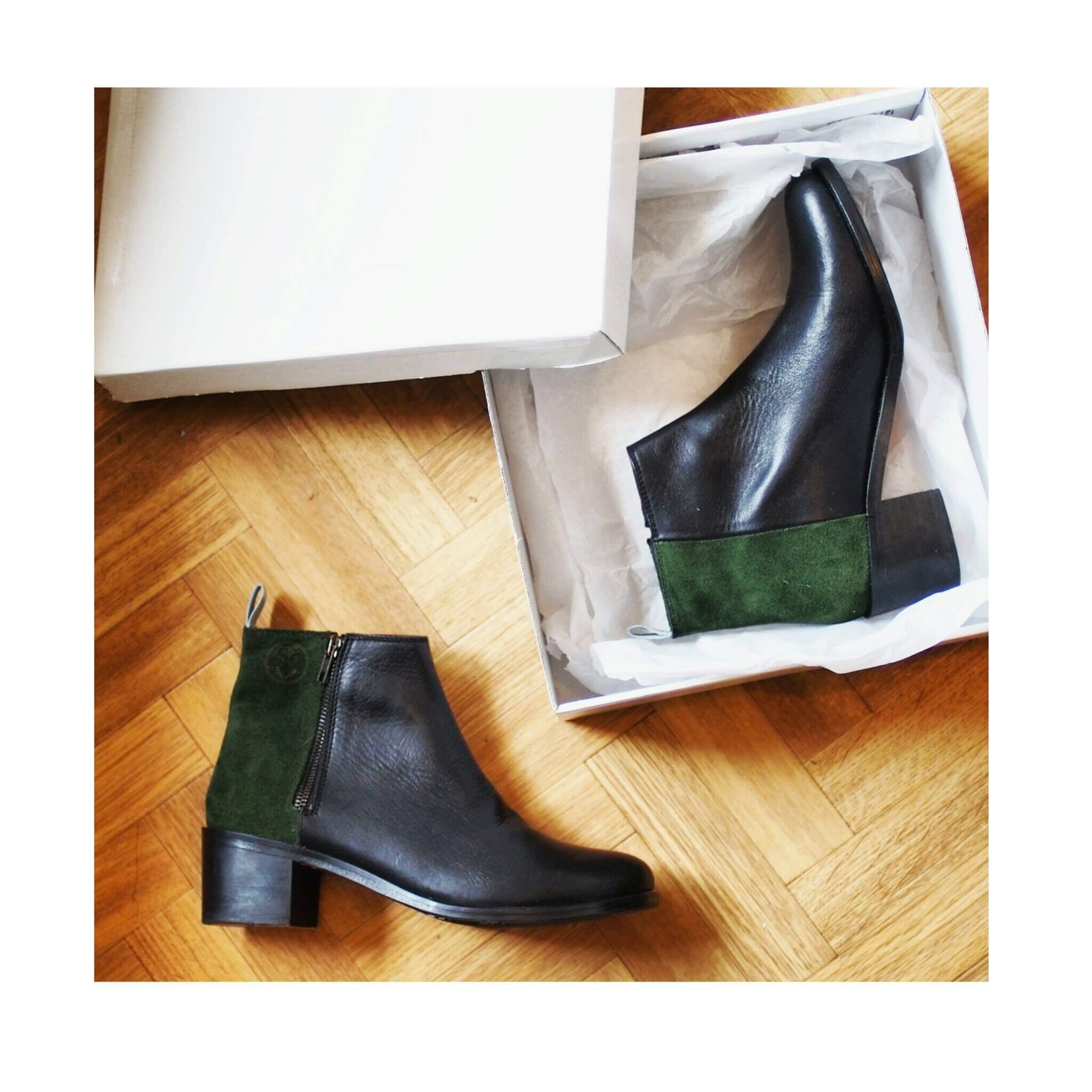les souliers d'iris bottines noires et velours vert