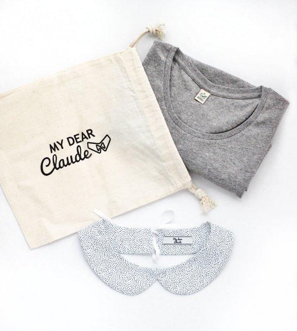 Coffret cadeau avec un tshirt gris chiné en coton et un col amovible au choix