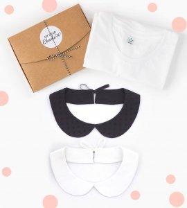 coffret duo de cols claudine amovibles avec t-shirt en coton bio