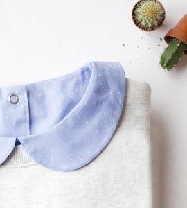 col claudine plastron plumetis coton bleu