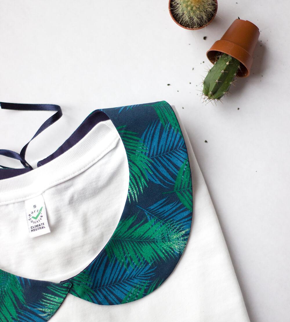 col claudine motifs tropical vert et bleu été 2018