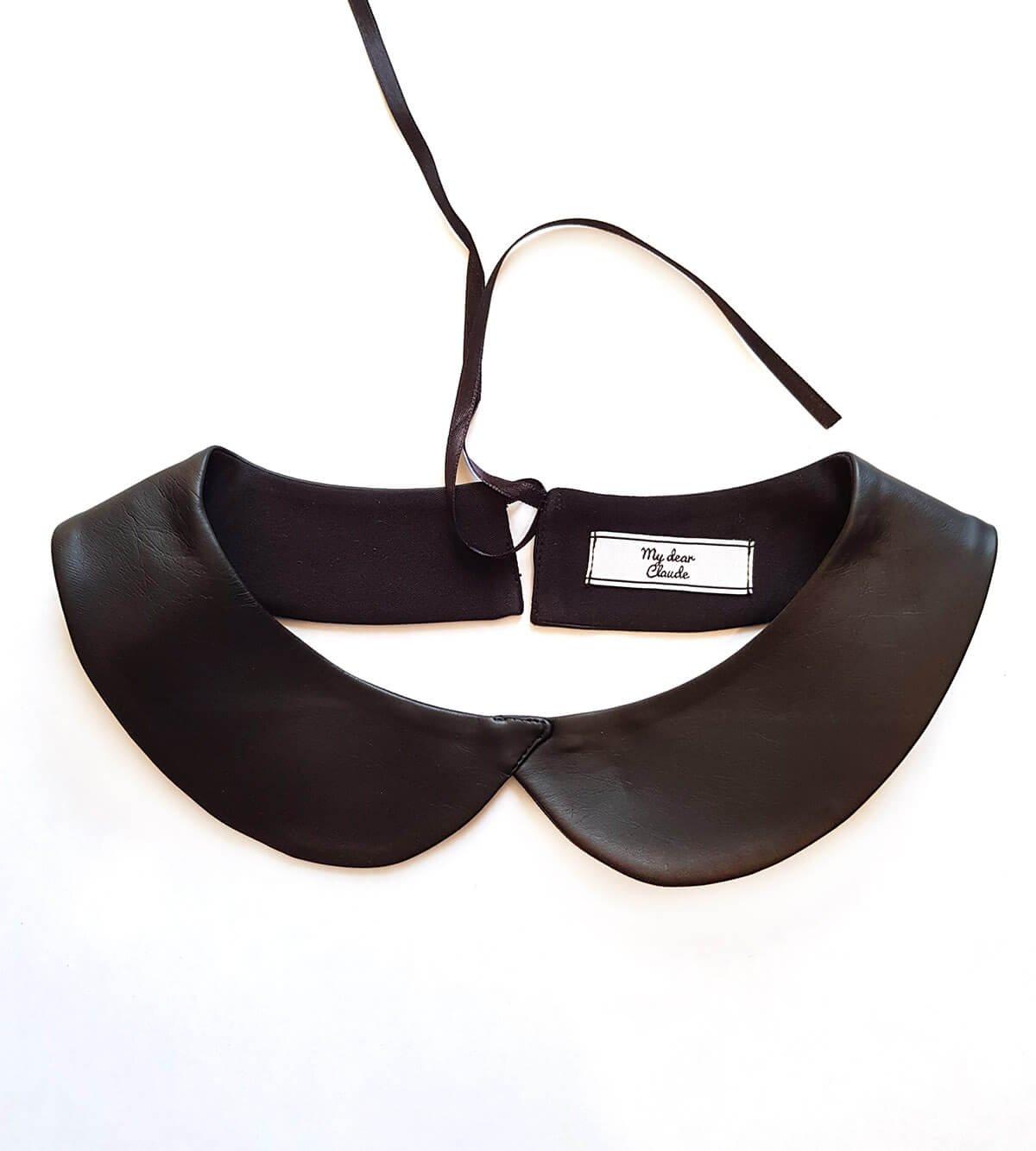 Col Claudine amovible noir en simili cuir