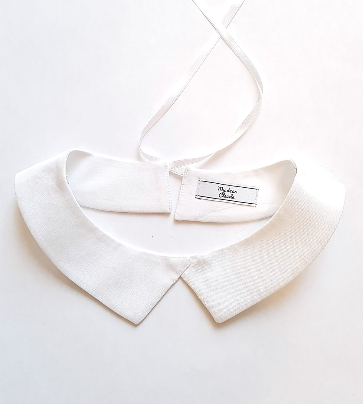 faux col blanc pointu blanc en coton à clipper