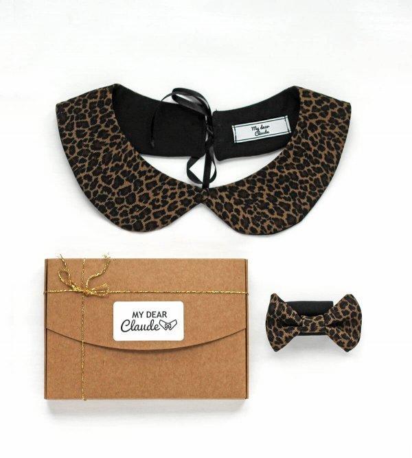 coffret Noël col claudine et noeud cache agrafes imprimés léopard
