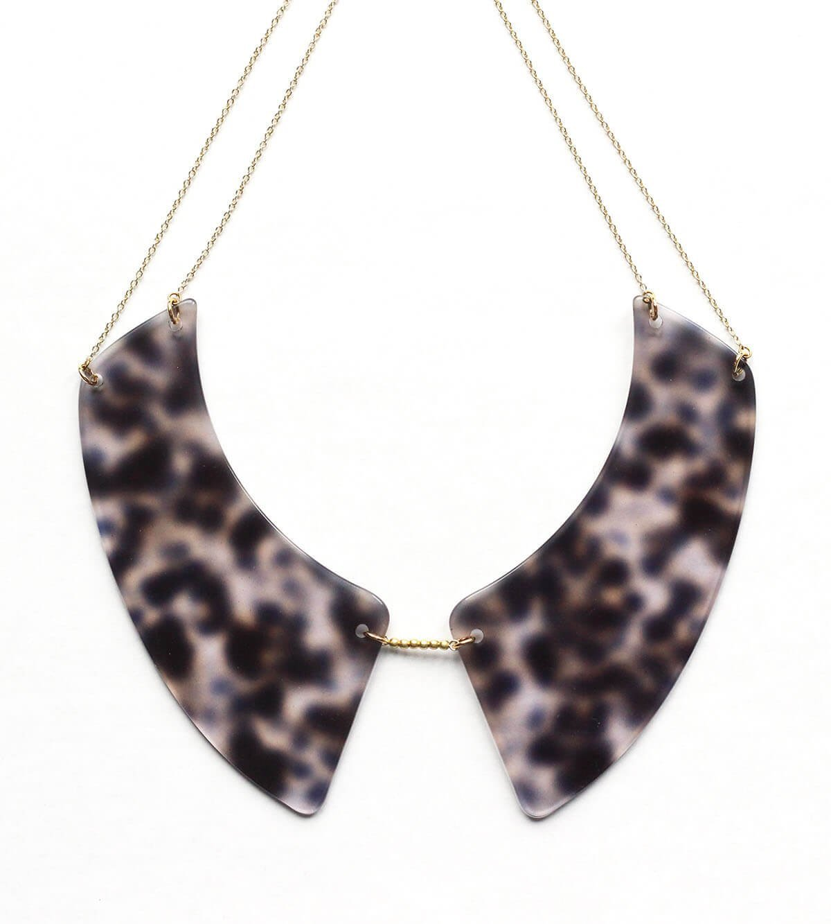 collier acétate léopard noir translucide