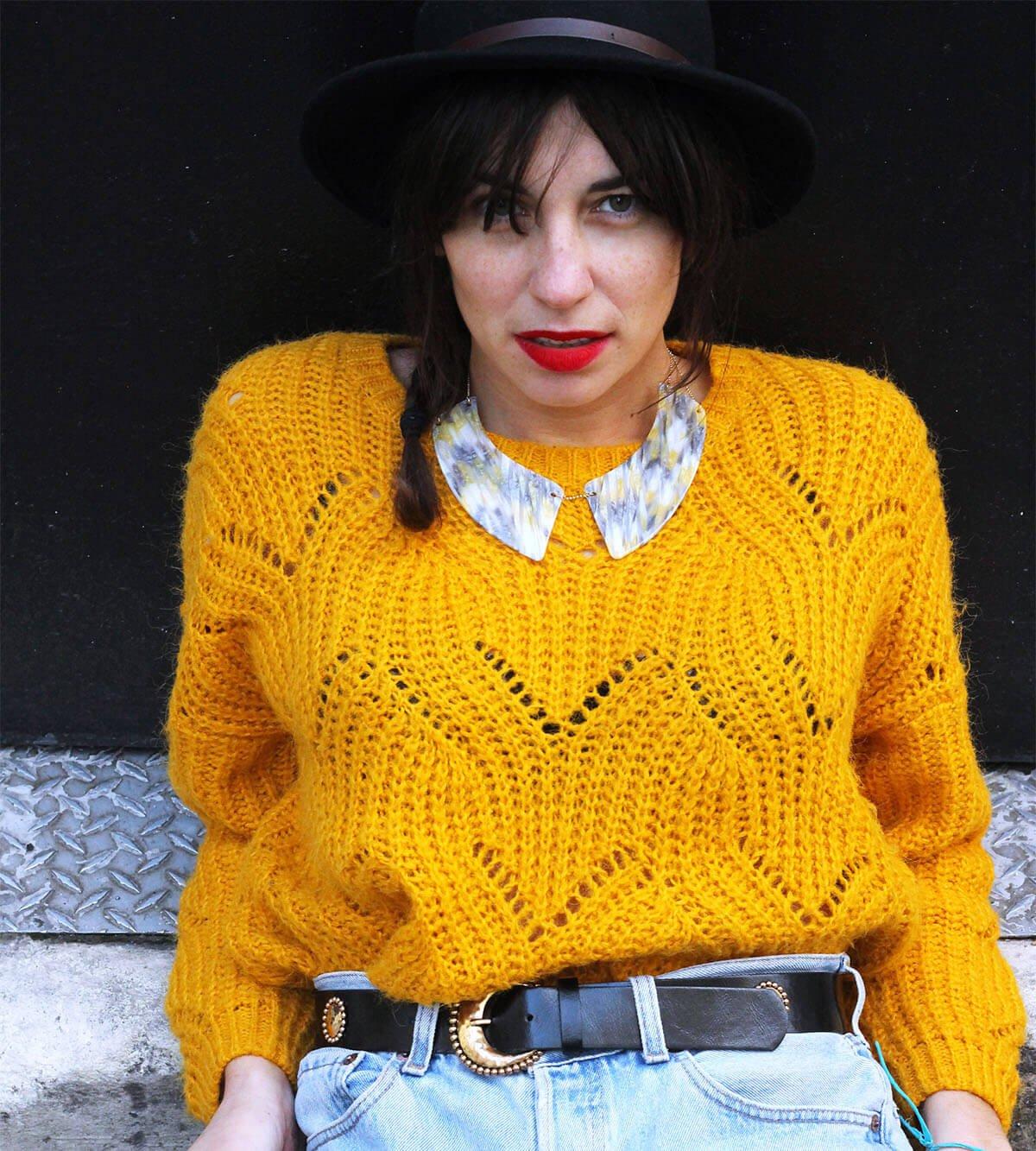 collier acétate marbré jaune blanc et gris
