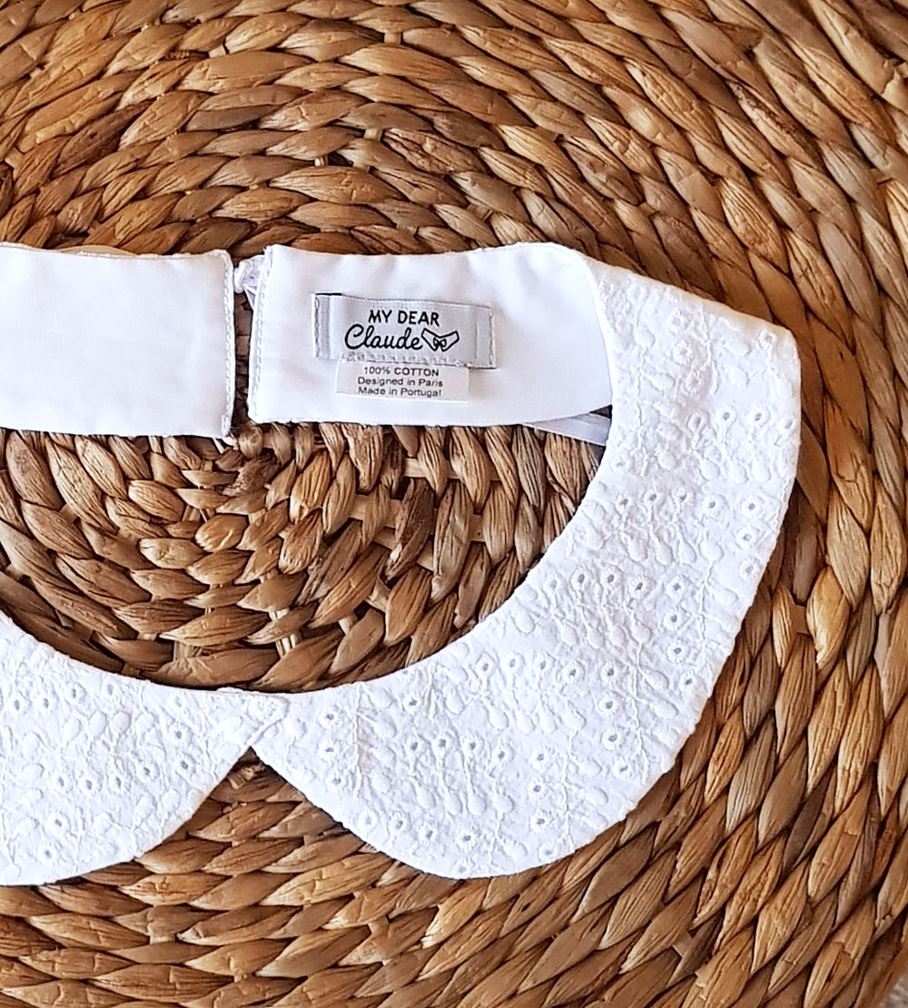 col claudine blanc broderie anglaise